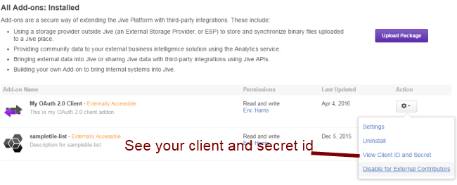 jive on client and secret id