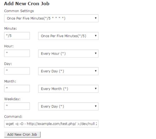 add new cron job in cpanel