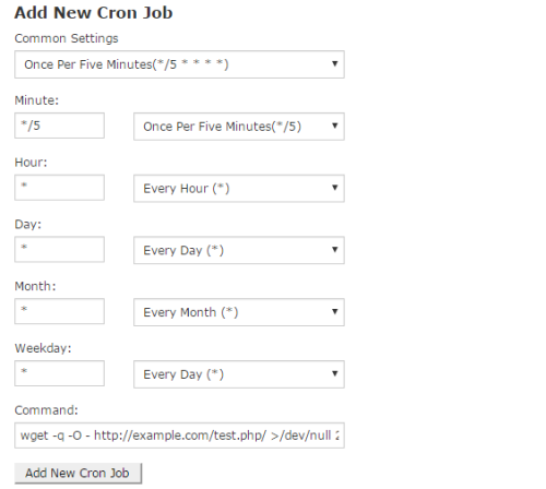 add new cron job in cpanel