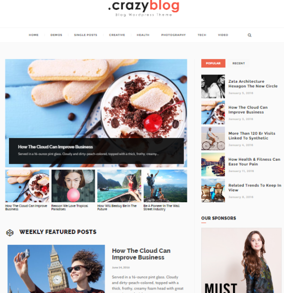 crazyblog wordpress theme