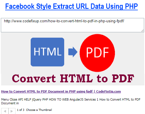 Extract URL content like Facebook with PHP
