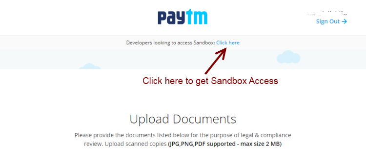 paytm sandbox access